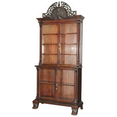 Huge Victorian Mahogany Hand-Carved Wood Library Bookcase Ornate