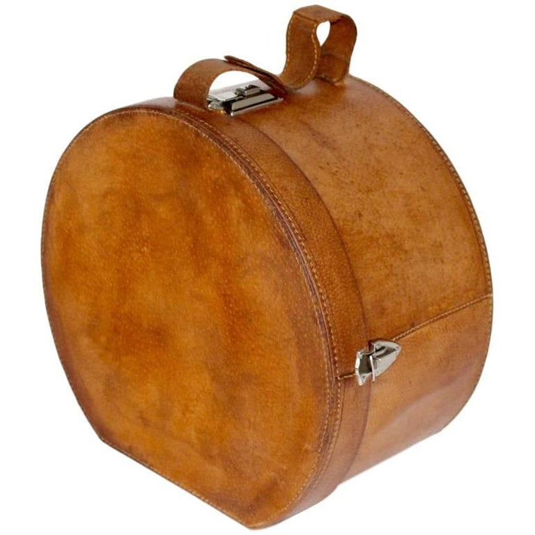 Mid Century Modern Vintage Brown Leather Case Austria, circa 1950 For Sale