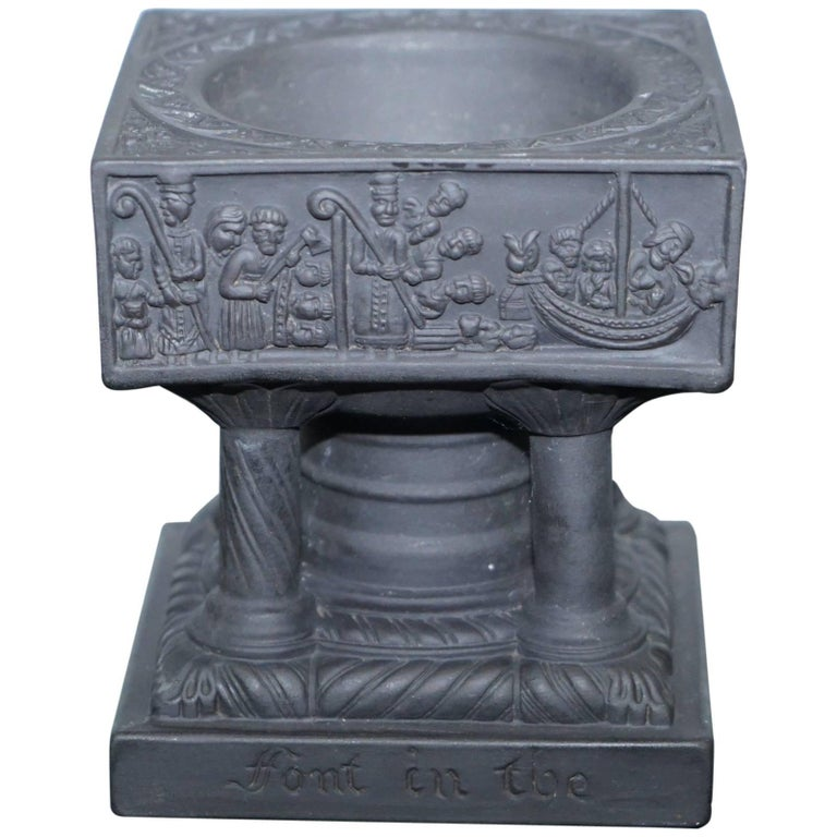 Rare Antique Slate Grand Tour Souvenir of Winchester Cathedrals Font Holy Water