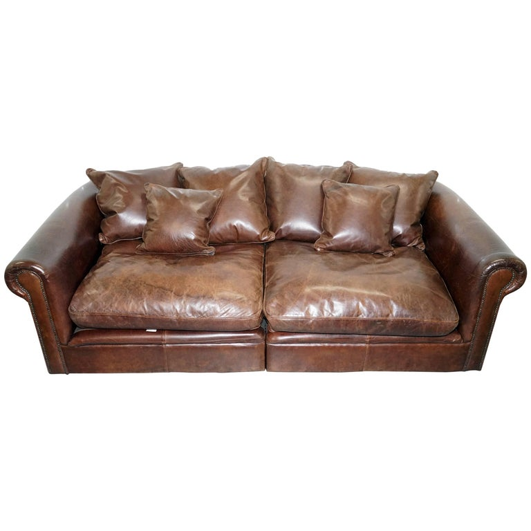 Knightsbridge Collin & Hayes Brown Leather Sofa Splits in Two Pieces