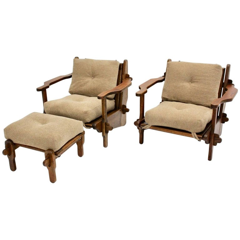 Oak Lounge Chairs with Ottoman, France, 1950s
