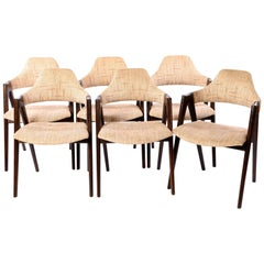 Set of Six Dark Oak Compass Armchairs by Kai Kristiansen for Sva Møbler, 1960s