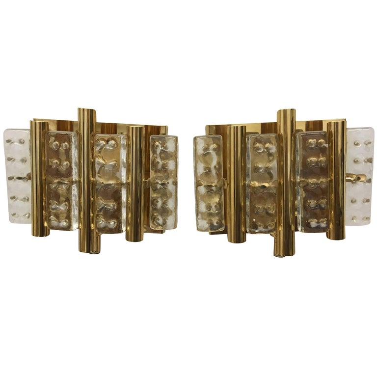 Set of Two Brass and Glass Wall Lamps by Carl Fagerlund for Lyfa and Orrefors