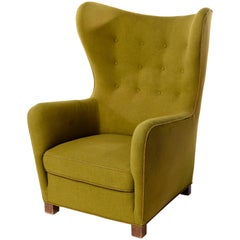 1942 Fritz Hansen Model 1672 Wing Back Chair in Original Green Wool Fabric