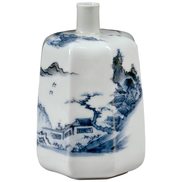 Late 18th Century Japanese Blue and White Hirado Porcelain Sake Bottle