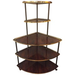Rare Corner Five-Tier Mahogany and Brass Shelving Unit Étagère