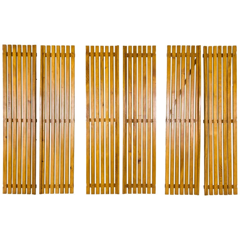Set of Three Pairs of Charlotte Perriand Slat Doors, circa 1950, France For Sale
