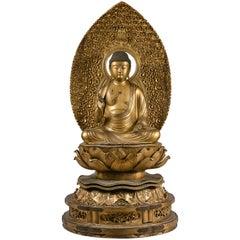 18th Century Japanese Giltwood Figure of Amida Buddha