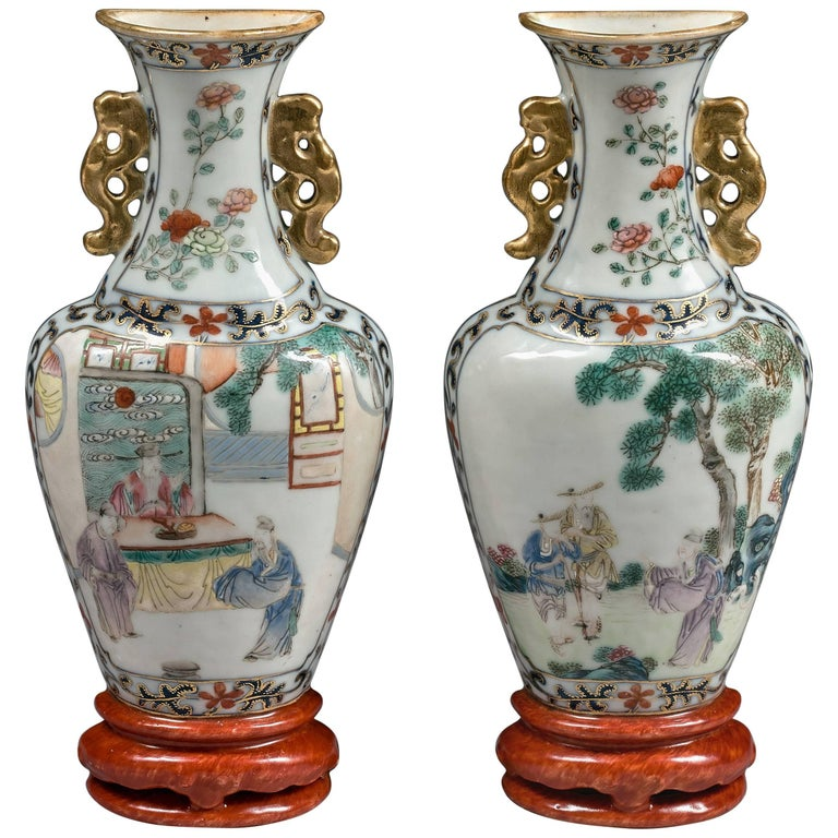 Pair of Chinese 18th Century Qianlong Period Famille Rose Porcelain Wall Vases