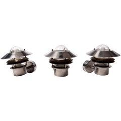 Set of Three Danish Steel Sconce Outdoor Lights