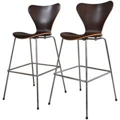 Mid-Century Modern Danish Arne Jacobsen for Fritz Hansen Pair of Oak Bar Stools