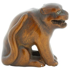 Netsuke, Wood, Accessory, Fashion, 19th Century Antique Woodcraft Dog