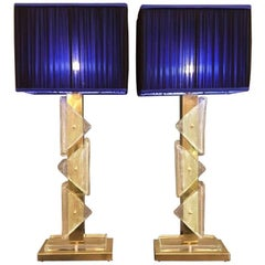 Pair of Italian Murano Clear Glass and Brass Lamps, 1970s