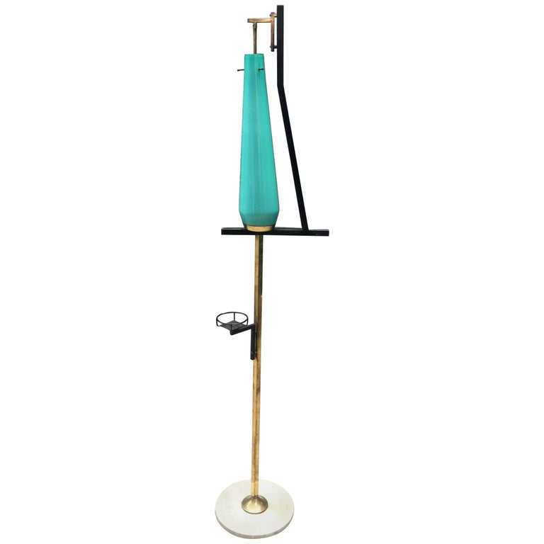 Stilnovo, Floor Lamp in Lacquered Metal, Tinted Glass, Brass and Marble