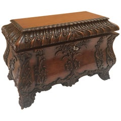 Carved Mahogany Hinged Tea Caddy Box by Maitland-Smith