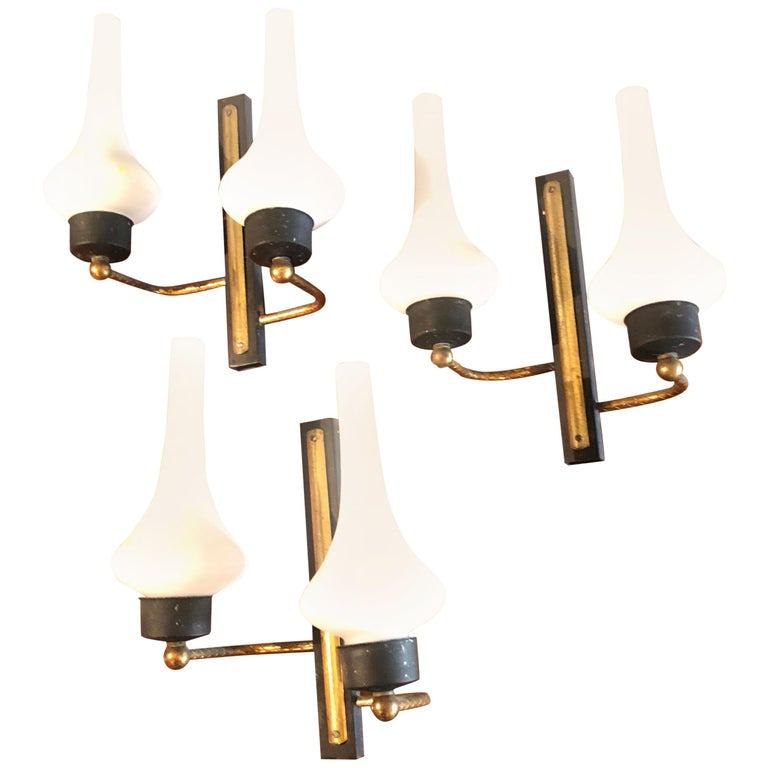 Set of Three Mid-Century Modern Italian Wall Sconces, circa 1950