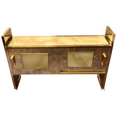 Late 20th Century Brass and Amber Artistic Murano Glass Cabinet