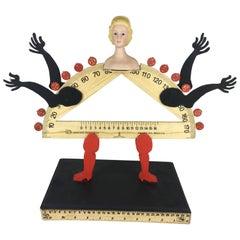 """Pedro Friedeberg wood sculpture """"Señorita Geométrica"""""""