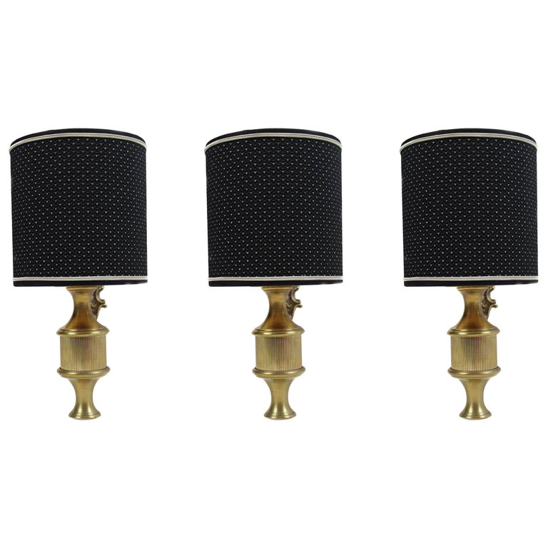 Italian Brass Applique Wall Lights, Set of Three, 1950s