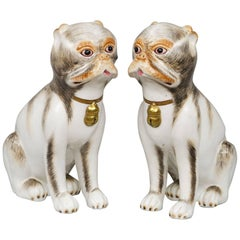 Pair of Continental Porcelain Pug Dogs