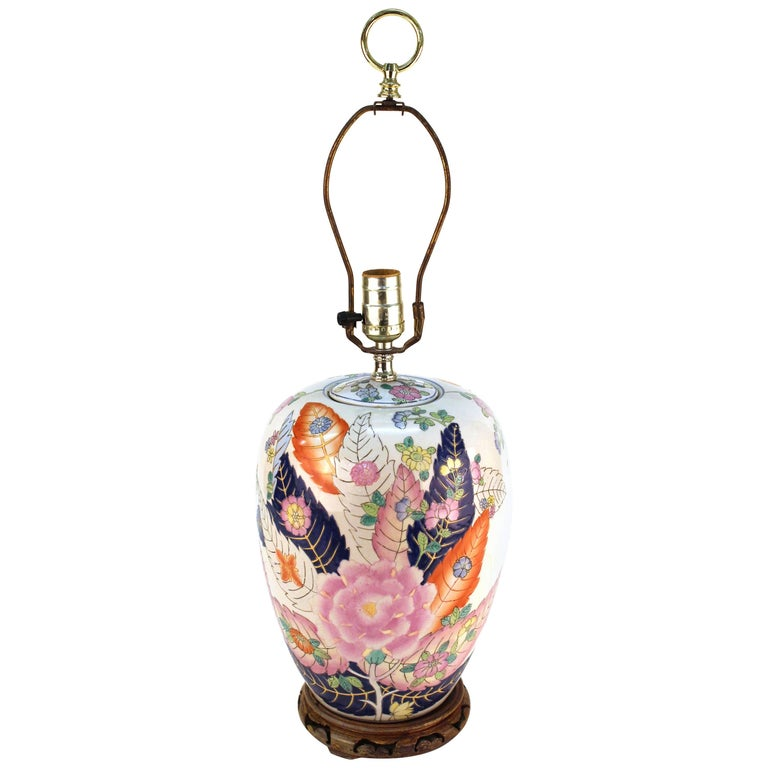 Chinese Porcelain Jar Table Lamp with Tobacco Leaf Motif