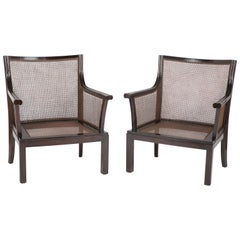 Pair of Cained Walnut Armchairs Designed by Bruno Paul