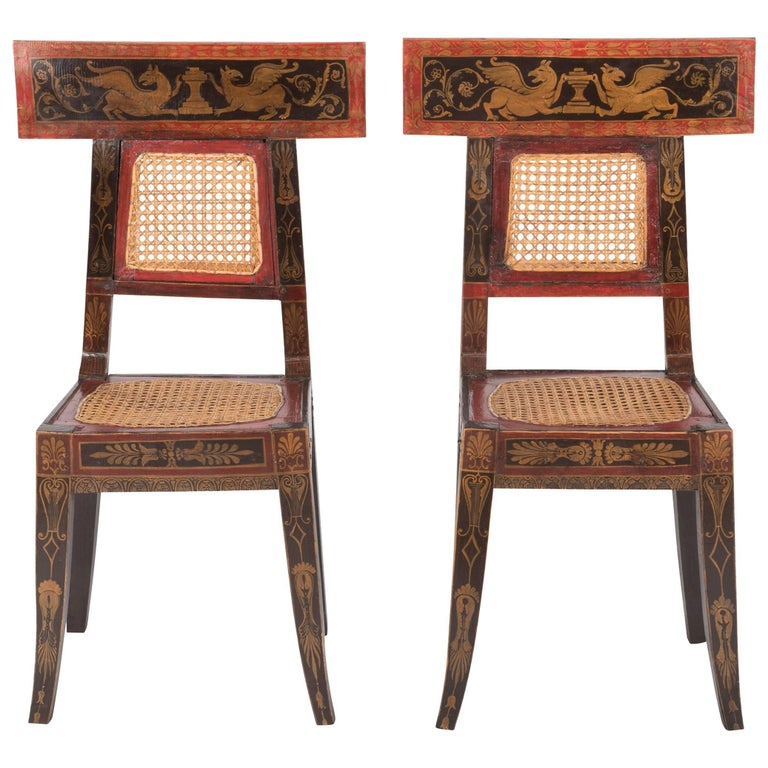 Pair of Cained Painted Side Chairs with Painted Greek Key Freeze