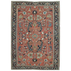 Antique Hand-Knotted Persian Serapi Rug