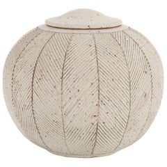 Large Covered Spherical Stoneware Jar by Richard Tuck