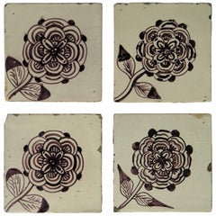 Four 18th Century Ceramic Tiles Delft Frisian Rose Manganese Set A, circa 1760