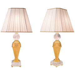 Pair of Rock Crystal Lamps by Alexandre Vossion