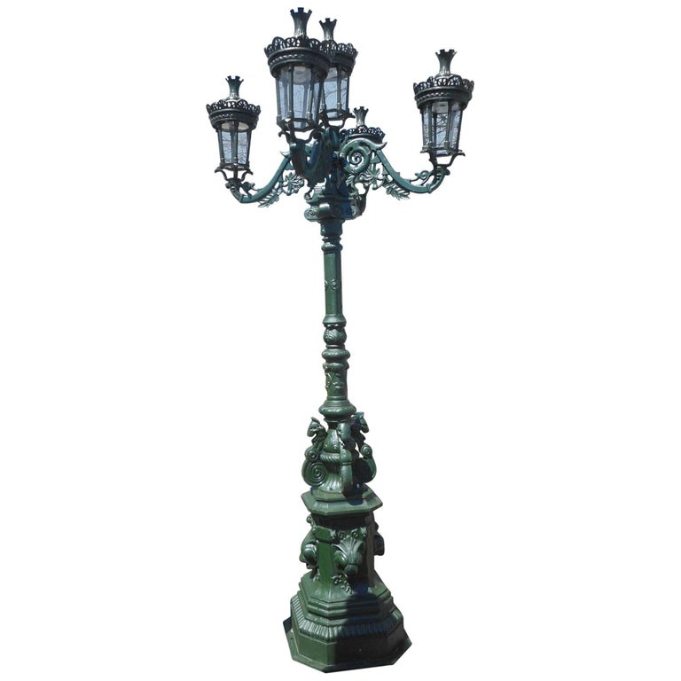 Massive Cast Iron Street Lamp with Five Lanterns