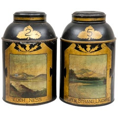 Pair of Scottish Tole Tea Canisters, circa 1850