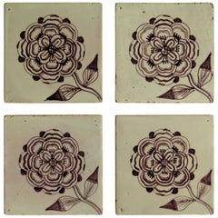Four 18th Century Ceramic Tiles Delft Frisian Rose Manganese Set B, circa 1760