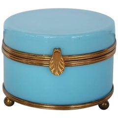 Antique French Blue Opaline Box with Brass Mounts
