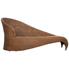 French Early 20th Century Récamière Style Wicker Sofa