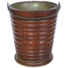 19th Century English Mahogany and Brass Peat Bucket/Waste Basket
