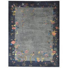 Antique Hand-Knotted Art Deco Chinese Rug