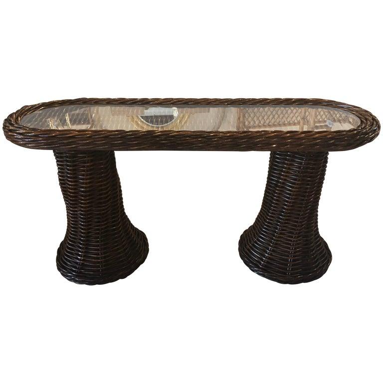 Vintage Wicker Double Pedestal Swirl Base Console Table Glass Top