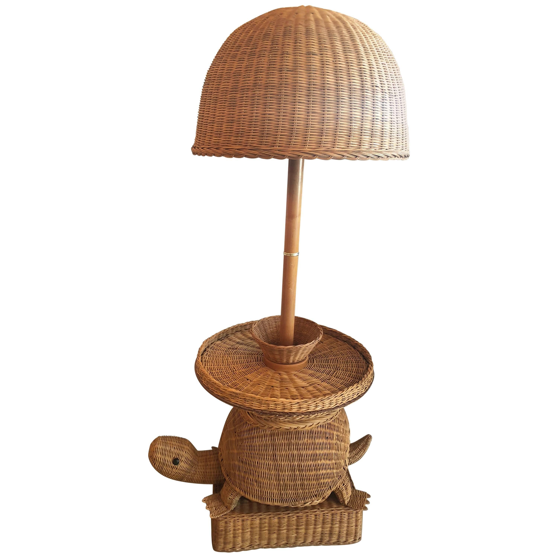 Vintage Tropical Wicker Turtle Side End Table Floor Lamp For Sale
