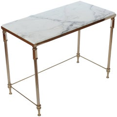 Midcentury French Brass and Marble Side Table