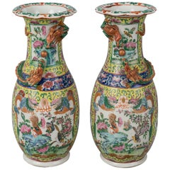 Pair of Chinese Export Canton Open Vases