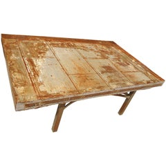 Fantatsic Handmade Table from Reclaimed Metal Door