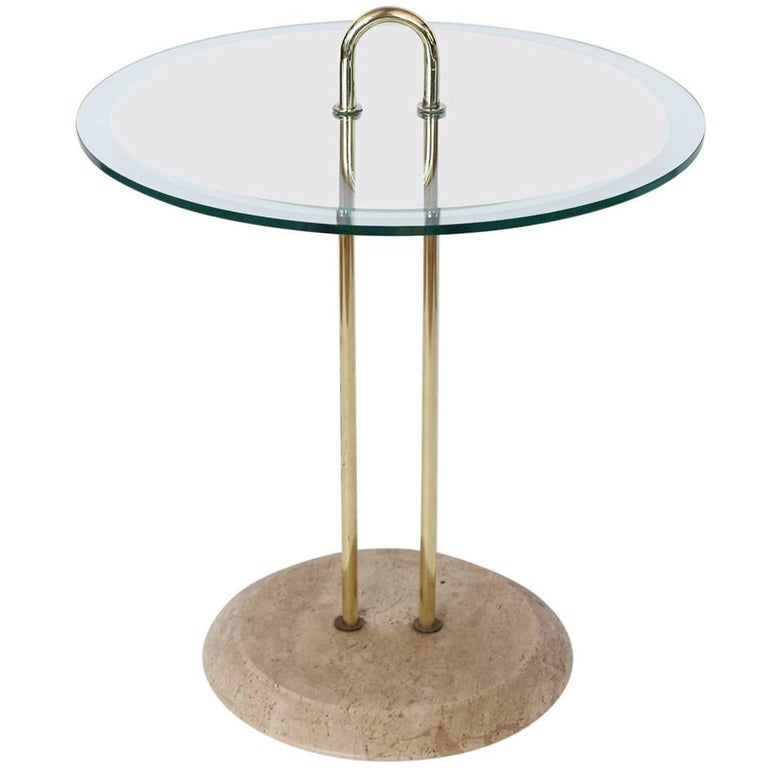 Midcentury Italian Brass and Travertine Accent Table