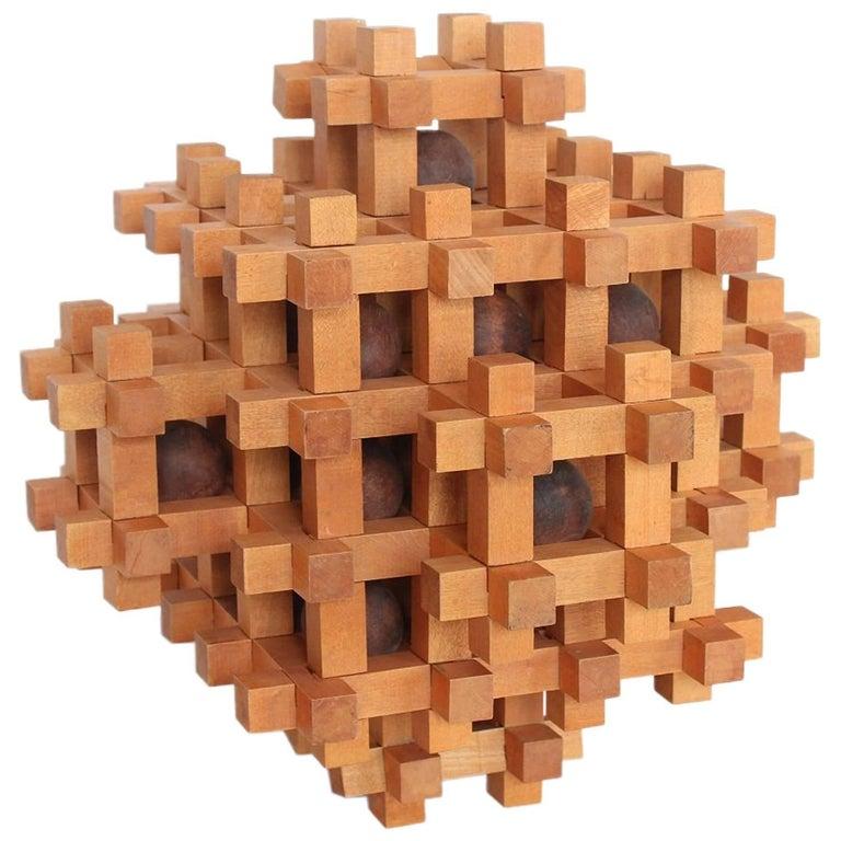 Large Midcentury Geometrical Wood Sculpture