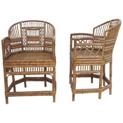 Vintage Brighton Pavilion Style Chinoiserie Chippendale Bamboo Armchairs