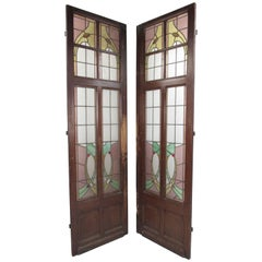 Pair of Vintage Stained Glass Doors