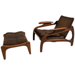 Adrian Pearsall Mid-Century Modern Walnut and Cane Lounge Chair and Ottoman
