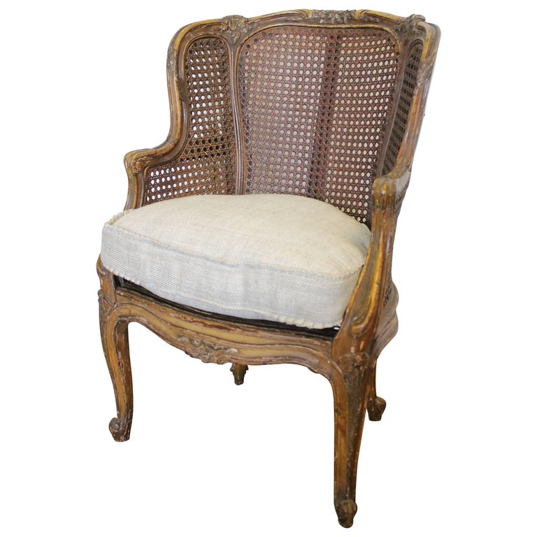 Antique French Childs Size Cane Back Wing Chair For Sale - Antique French Childs Size Cane Back Wing Chair At 1stdibs