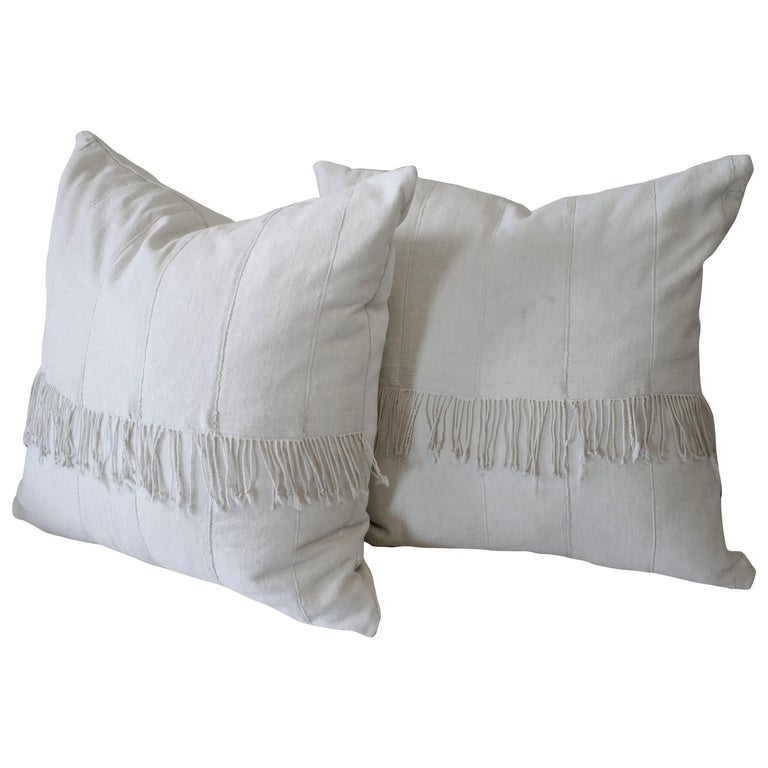Pair of off White African Mudcloth Pillows with Original Fringe Accents